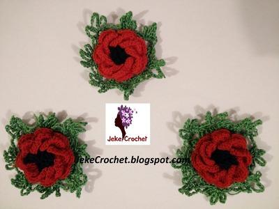 Amapola - Papavero - Poppy Flower (modelo 1) - Crochet- Ganchillo - Uncinetto. Paso a Paso