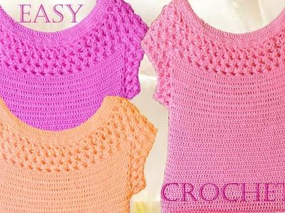 Blusa en punto entrecruzado tejida a Crochet - Learn crochet knitting