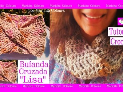 "Bufanda cruzada a crochet ""Lisa"" Tutorial por Maricita Colours Tutorial Gratis"