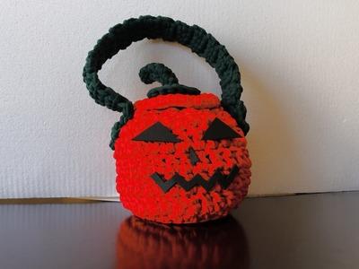 Como hacer bolso calabaza para halloween a crochet.