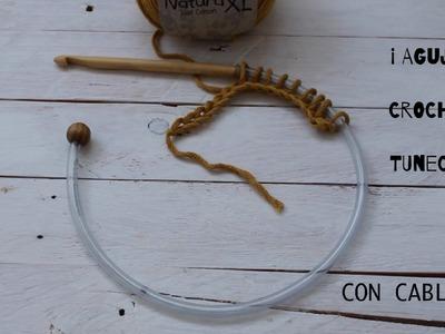 Como hacer una Aguja Crochet Tunecino con CABLE I cucaditasdesaluta