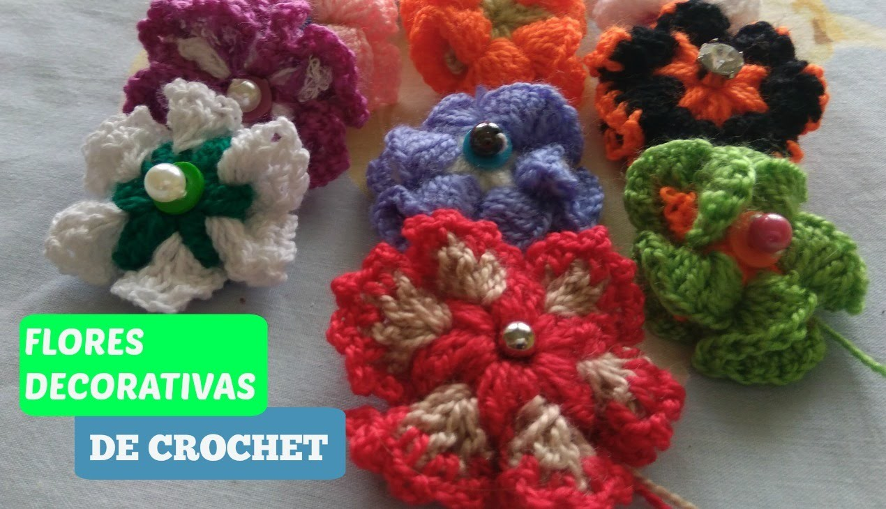 FLORES PARA DECORAR DE CROCHET (Crochet Flowers to decorate)