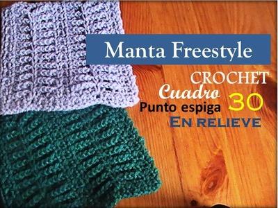 PUNTO ESPIGA en relieve a crochet - cuadro 30 manta FREESTYLE (diestro)