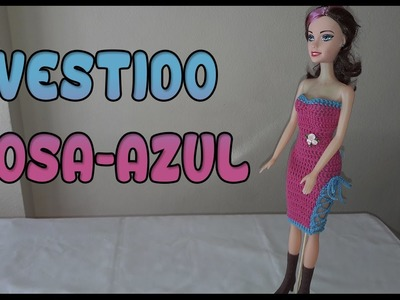 Vestido Rosa-Azul a crochet para Muñeca