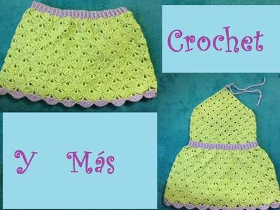 Vestido y.o Falda abanicos.Crochet