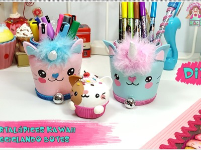 DIY- HAZ TUS PORTALAPICES KAWAII CON BOTES RECICLADOS. Resolución sorteo Lazy Cat