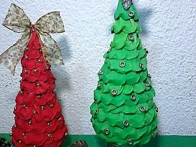 Pinos navideños de papel. DIY. How to make paper Christmas trees