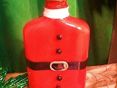 Decoración navideña de botellas de vidrio. DIY. Decoration of glass bottles
