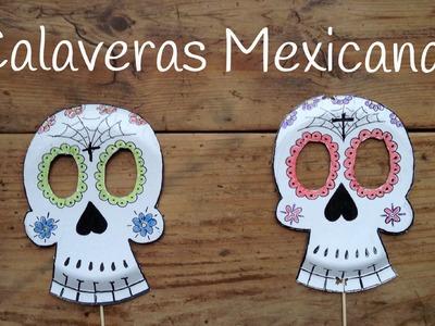 Cómo dibujar CALAVERAS MEXICANAS | Manualidades para niños con PLATOS DE PAPEL