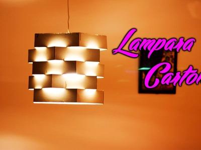 Como hacer una lampara de carton | manualidades de carton