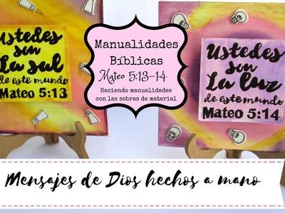 """Manualidades Bíblicas. Mateo 5:13,14. Haciendo manualidades con """"sobras"""""""