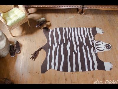 Alfombra hecha a mano diy de fieltro cebra