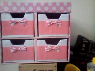 Diy Cajonera de Carton para niñas , mini drawers , organizador de papelao , organizador de carton