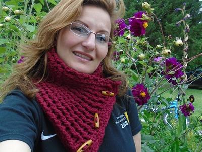 Como Hacer Bufanda Cuello Punto Elástico a Crochet Con Botones