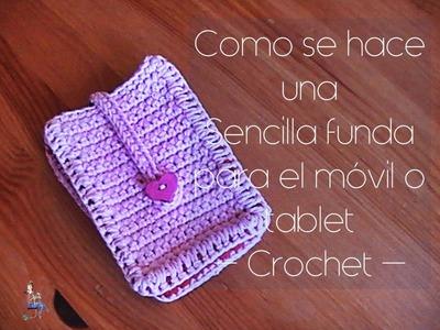 Como se hace una sencilla funda de móvil o tablet a crochet (diestro)