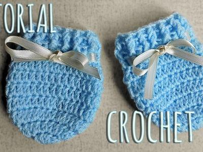 Como tejer a crochet manoplas para bebes-Unisex