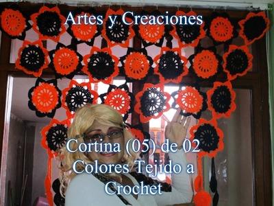 CORTINA DE 02 COLORES TEJIDA  A CROCHET - 1ERA PARTE.