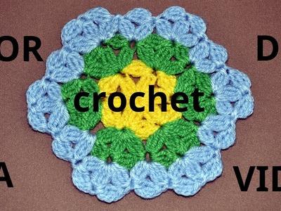 Flor De La Vida en tejido crochet tutorial paso a paso.