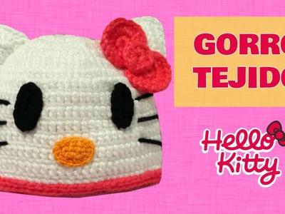 Gorro de Hello Kitty tejido a crochet talla 1 año