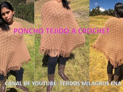 Poncho Abrigador en punto hojitas tejido a crochet - TEJIDOS MILAGROS ENA