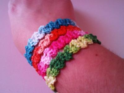 Pulsera zig zag a ganchillo. Crochet bracelet