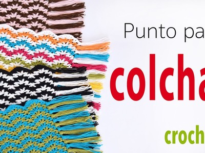 Punto para colcha o cobija tejido a crochet: V en zigzag (se repite solo 1 hilera!)