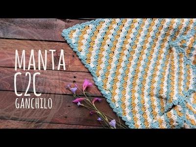 Tutorial Manta o Cobija Bebé C2C Ganchillo | Crochet
