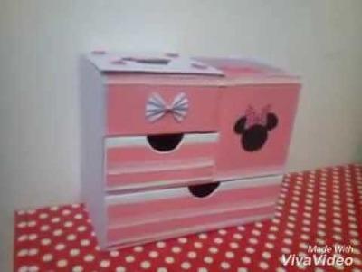 DIY Organizador de accesorios para niñas de minie. Joyero alhajero para niña. Organizador de papelao