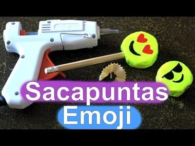DIY Sacapuntas de silicona caliente de Emoji. DIY material escolar