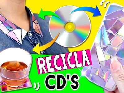 4 MANUALIDADES faciles para RECICLAR tus CD's * Ideas DIY de reciclaje