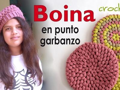 Boina en punto garbanzo o puff tejida a crochet - Crochet puff stitch beret