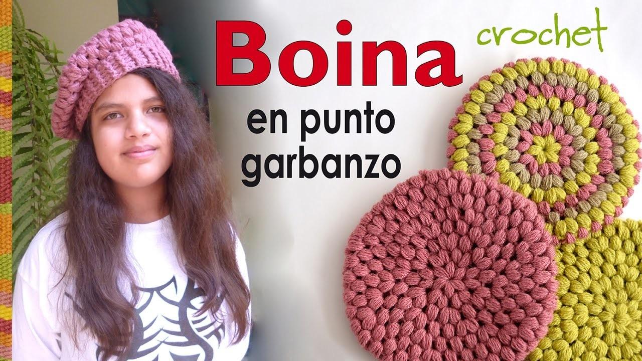 Boina en punto garbanzo o puff tejida a crochet - Crochet puff stitch beret 6f389a735b7