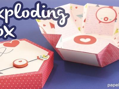 Carta de amor explosiva - EXPLODING BOX - Caja hexagonal Scrapbook
