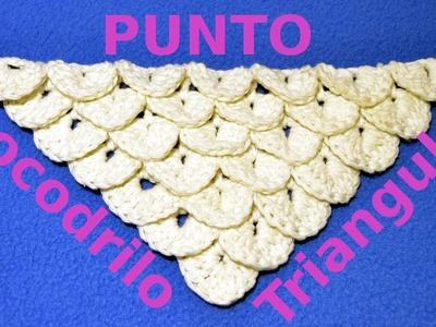 Como hacer el Punto Cocodrilo Triangular en tejido crochet o ganchillo tutorial paso a paso.