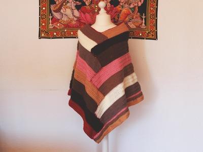 Como hacer poncho escalonado en colores a crochet.