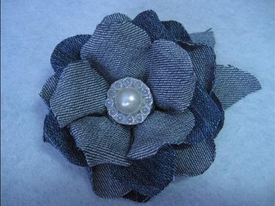 #DIY - # flor de mezclilla, en tela de jean reciclada