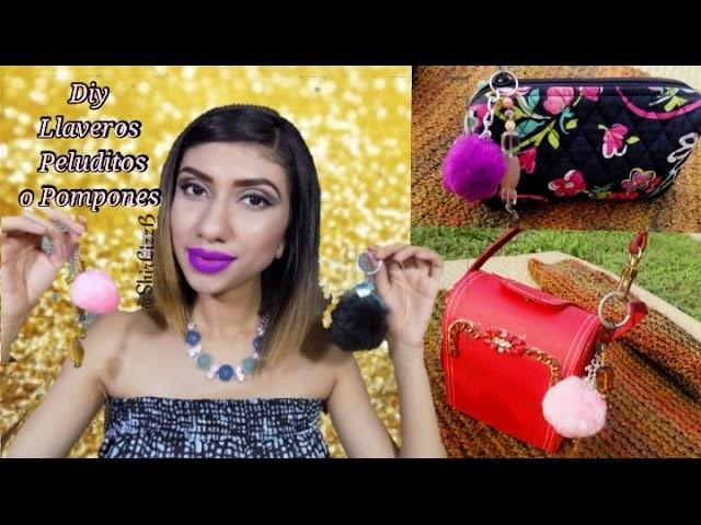 DIY Llaveros Peluditos o de Pompones de Moda 2016|ShirLizzB