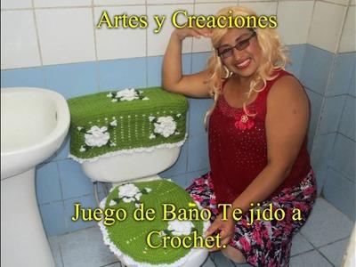 JUEGO DE BAÑO (TAPA DE TANQUE) TEJIDO A CROCHET - 1ERA. PARTE