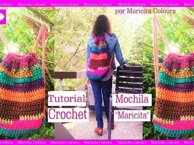 """Mochila a Crochet Ganchillo """"Maricita"""" por Maricita Colours Tutorial Gratis"""