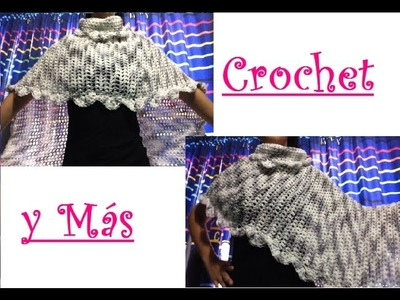 Capa Asimetrica Tipo Poncho a Crochet
