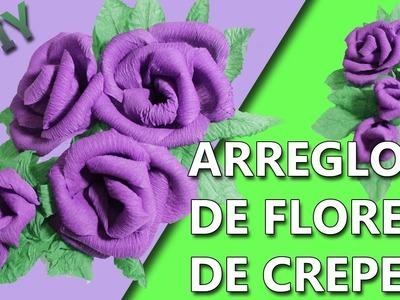 COMO HACER UN ARREGLO DE FLORES | Manualidades flores de papel crepe