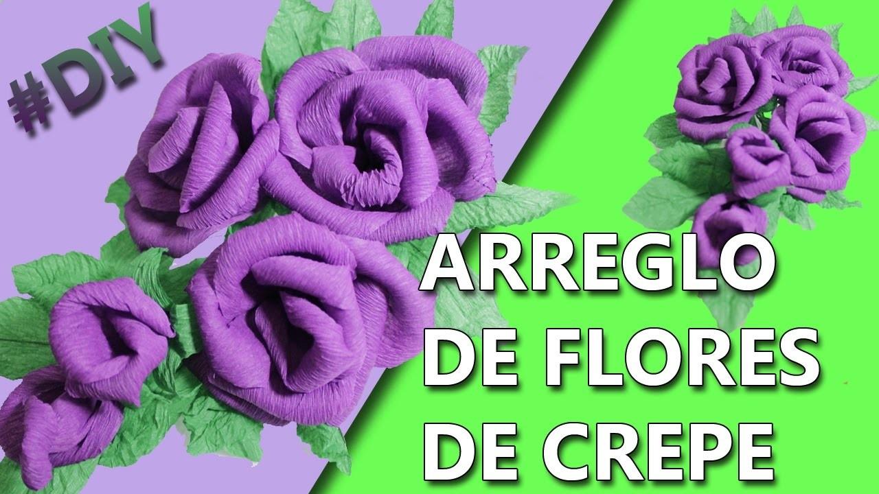COMO HACER UN ARREGLO DE FLORES   Manualidades flores de papel crepe