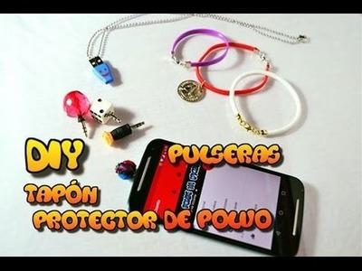 DIY Pulseras, tapones para celular y collar para mascota, reutilizando cables dañados.