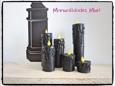 Manualidades Muri, Velas tenebrosas con rollos de WC, Halloween