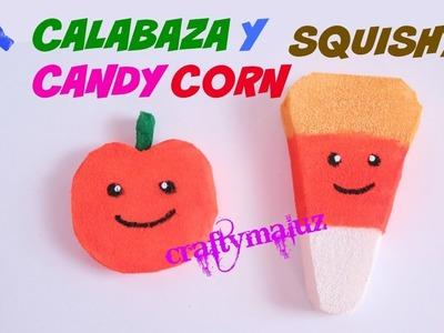 CALABAZA Y CANDY CORN SQUISHY (Halloween) manualidades para niños
