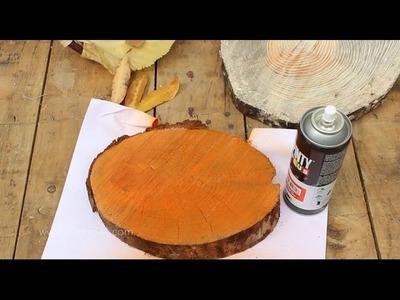 Calabazas DIY con troncos de madera