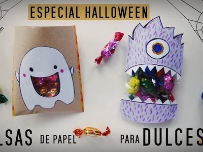 Cómo hacer BOLSAS DE PAPEL PARA DULCES. Manualidades fáciles para niños (Especial Halloween)