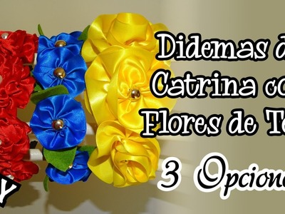 Como hacer Diadema Corona Vincha para Catrina con Flores de Tela DIY