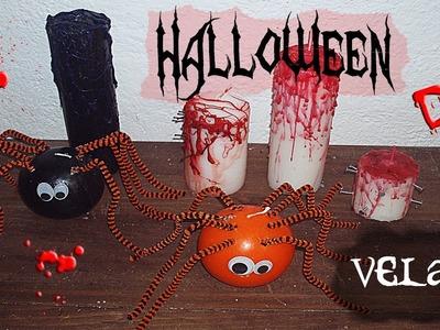 Decoración DIY Halloween: velas sangrientas y  velas arañas