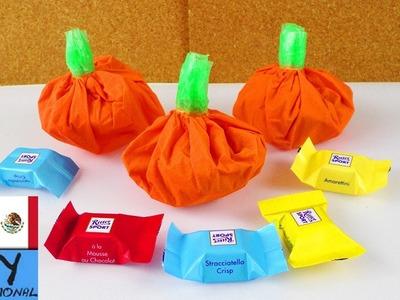 DIY Envoltorio para regalo en forma de calabaza | Idea para Halloween | Tutorial para niños